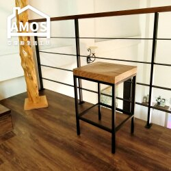 【YCN031】工業風方形實木高腳吧檯椅 Amos