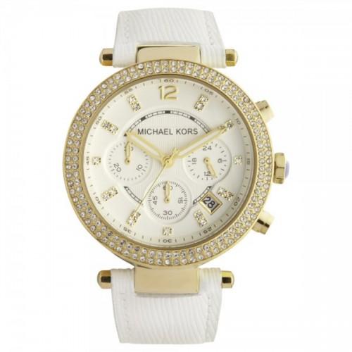 美國Outlet 正品代購 Michael Kors MK 金色鑲鑽 白色皮帶 三環計時手錶腕錶 MK2290