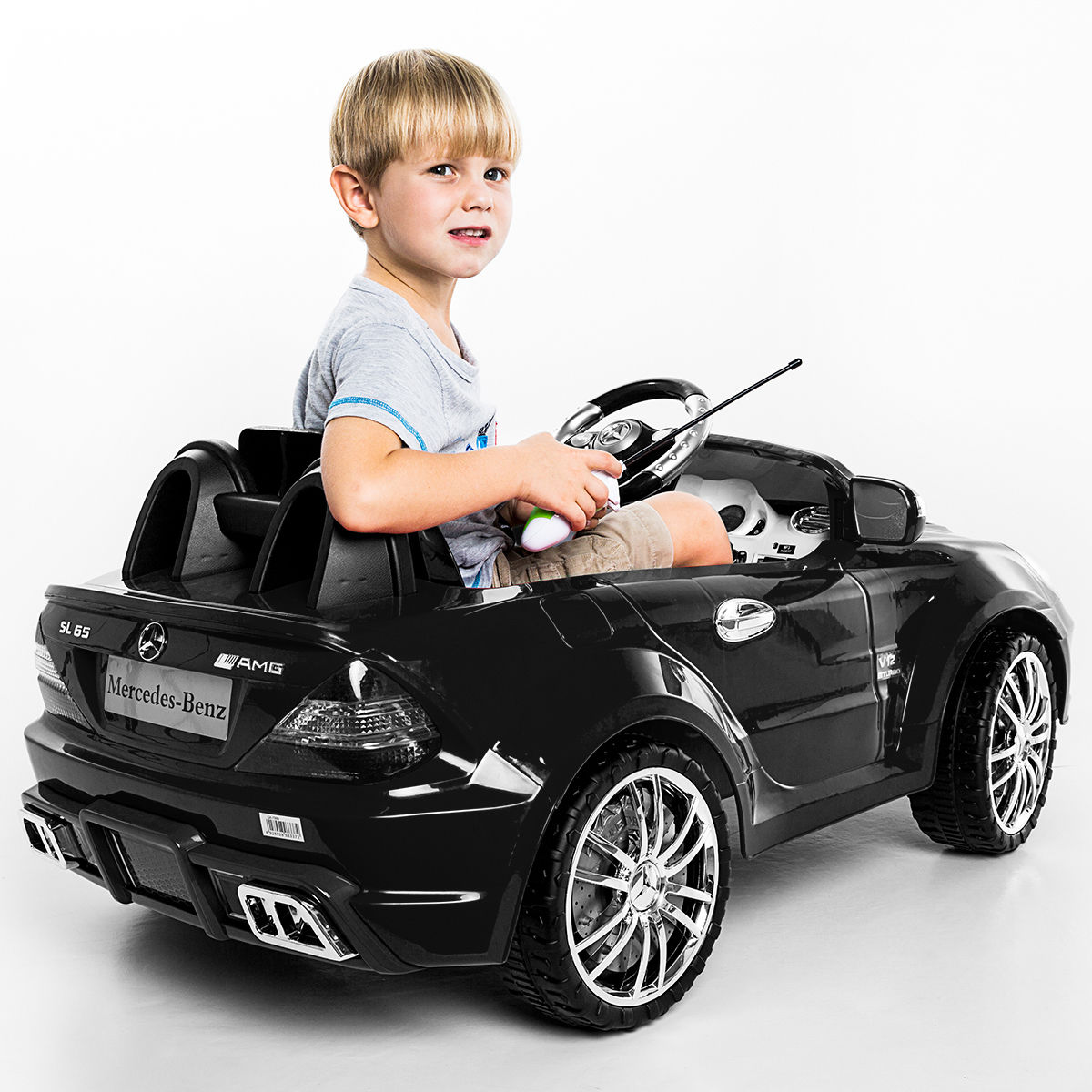 Costway 12v Mercedes Benz Sl65 Electric Kids Ride On Car Music Rc Remote Control Black