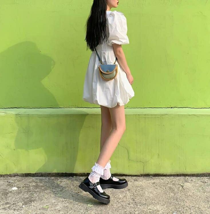 泡泡袖洋裝 小个子约会小裙子女夏赫本风可盐可甜学院少女蝴蝶结泡泡袖洋裝