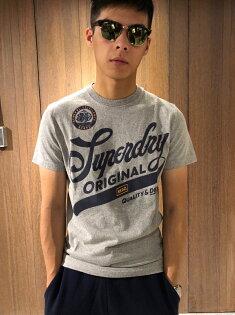美國百分百【全新真品】Superdry極度乾燥T恤上衣T-shirt短袖短T復古LOGO砂礫灰J089