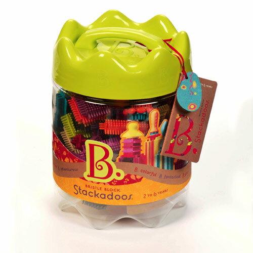 【奇買親子購物網】美國B.Toys 布萊斯特鬃毛積木(基本組)