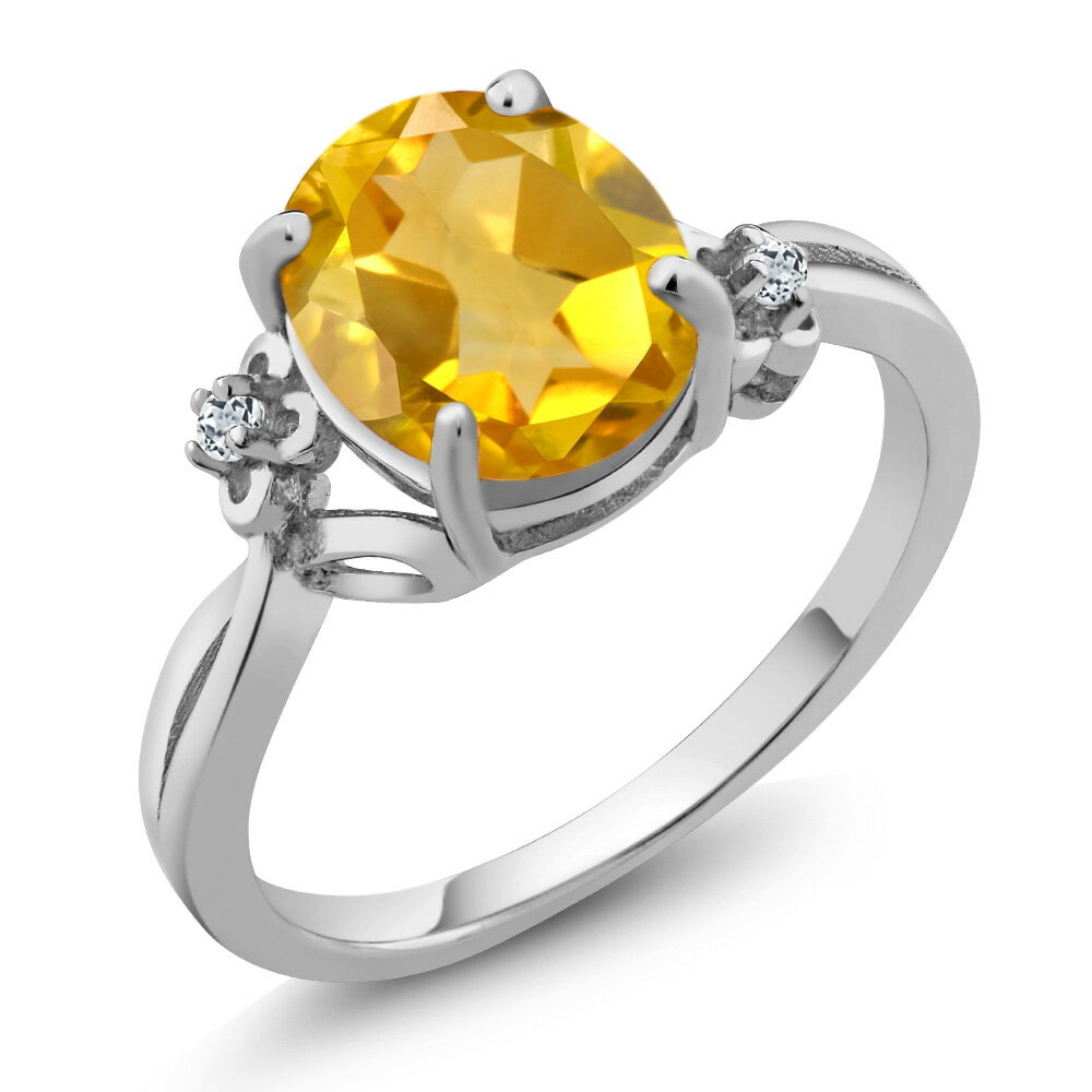 2.04 Ct Oval Yellow Citrine White Topaz 925 Sterling Silver Ring 0