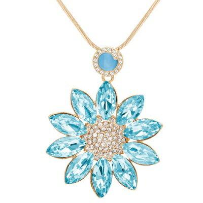 水晶項鍊毛衣鍊~華麗鑲鑽花朵 七夕情人節 女飾品4色73gc16~ ~~米蘭 ~ ~  好