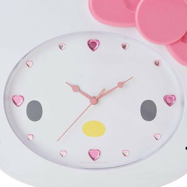 14022500023 造型壁掛鐘-KT大臉粉結 三麗鷗 Hello Kitty 凱蒂貓 時鐘 掛鐘 真愛日本