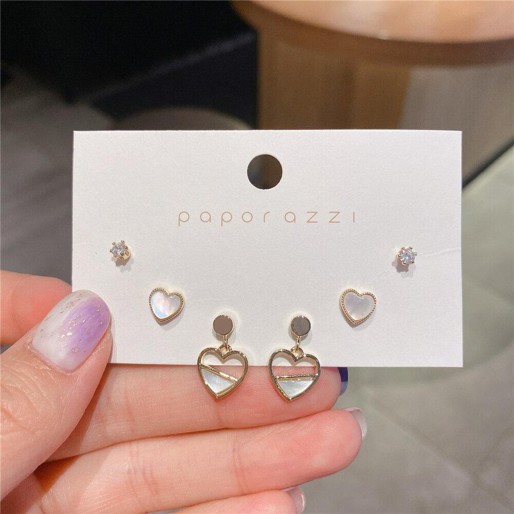 三件套鍍真金鋯石系列  韓版ins風氣質款心形耳環925銀針百搭耳飾