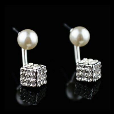 925純銀耳環珍珠耳飾~閃耀鑲鑽方形 生日情人節 女飾品73hz109~ ~~米蘭 ~