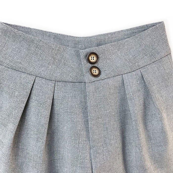 短褲 素色 雙釦 寬版腰 壓摺 寬管褲 百搭 短褲【HA850】 BOBI  02 / 14 6