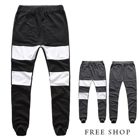 飛鼠褲 Free Shop~QJFK3725~日韓風格寬條紋拼接 膠印抽繩彈性縮口飛鼠褲棉
