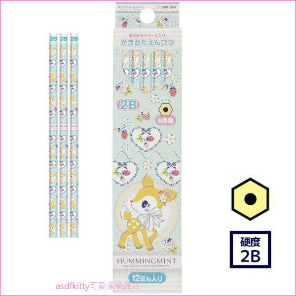 asdfkitty可愛家☆小鹿斑比六角鉛筆-2B-12入-日本製