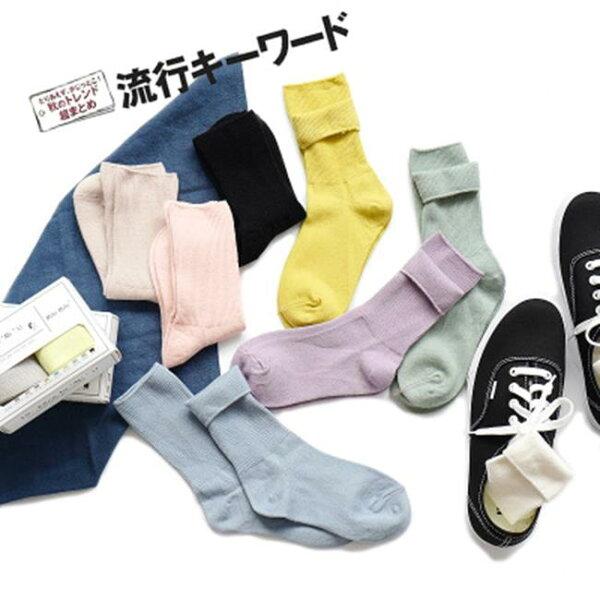 50 OFF SHOP:50%OFFSHOP日系羅口細條全棉堆堆襪子盒裝襪中筒素色女襪【W030826SK】