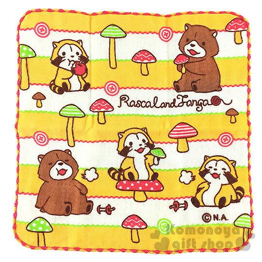 〔小禮堂〕小浣熊 日製圓角小方巾《黃白.條紋.蘑菇.25x25cm》