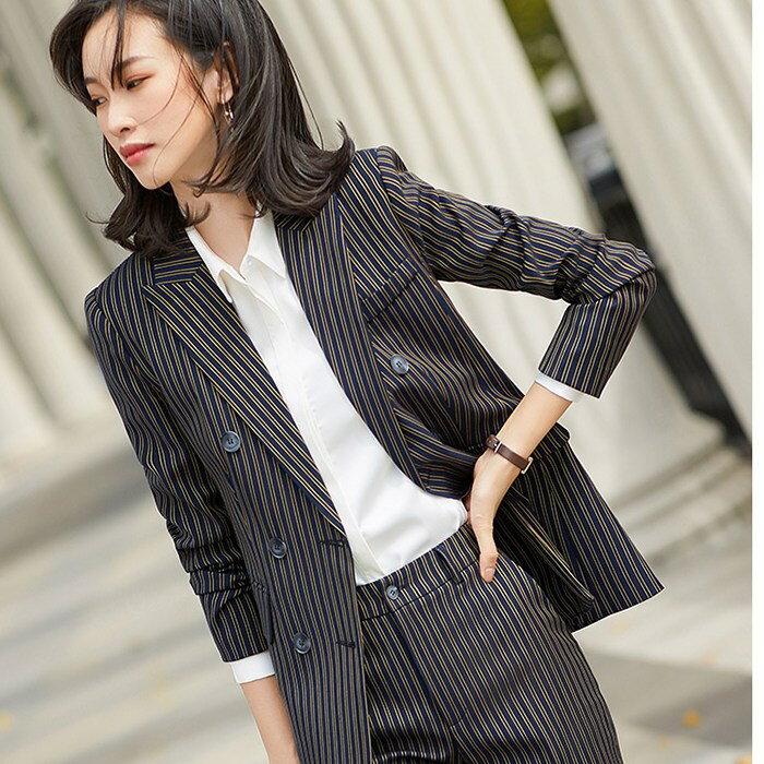 復古三排扣顯瘦條紋西裝上班外套[21S149-PF]灰姑娘