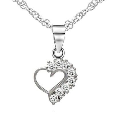 925純銀項鍊 鑲鑽吊墜~典雅甜美心形 母親節情人節生日 女飾品73dk160~ ~~米蘭