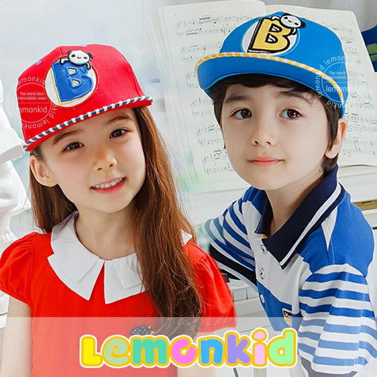 Lemonkid◆可愛小熊字母條紋 配色 休閒兒童鴨舌棒球帽