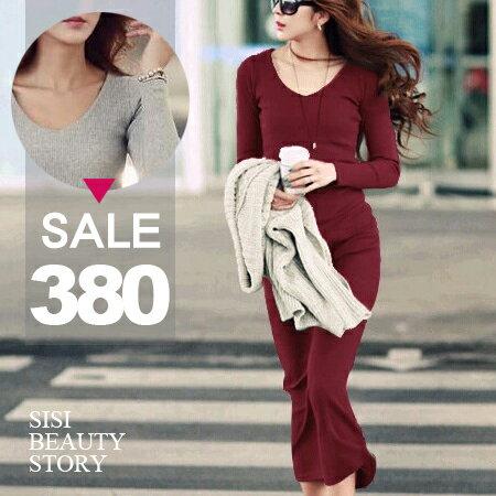 SISI【D6035】休閒歐風時尚V領羅紋素色長袖修身包臀連身裙洋裝