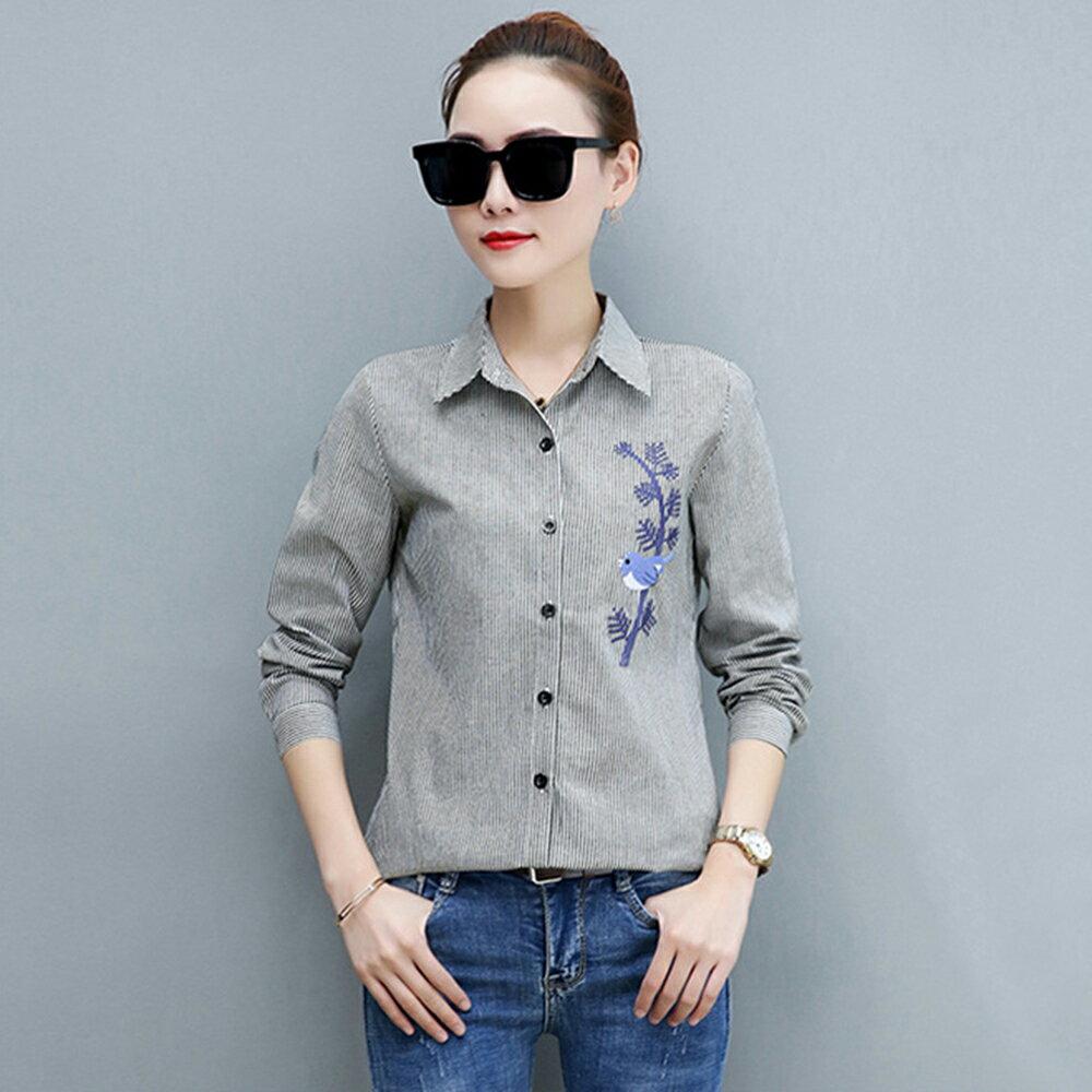 韓版刺繡條紋襯衫長袖襯衣(3色S~4XL)【OREAD】 2