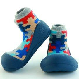 【淘氣寶寶】韓國【Attipas】快樂腳襪型學步鞋-藍底拼圖M