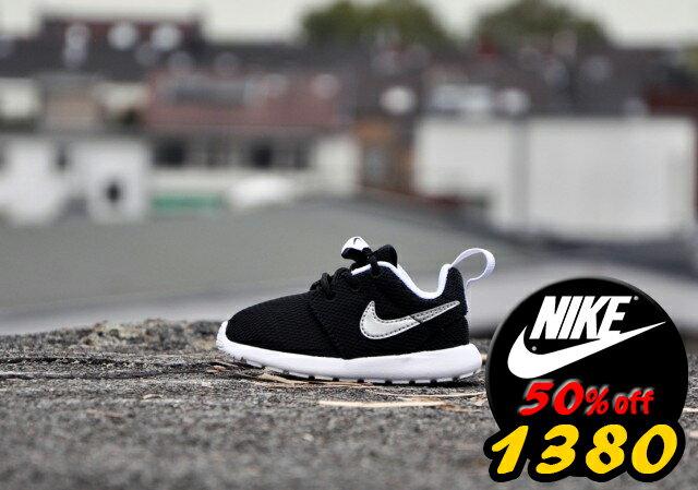 全新正品歲末出清Nike Roshe run One超輕量 童鞋 黑白銀勾 大童鞋 余文樂 學步 透氣 經典百搭【T77】潮