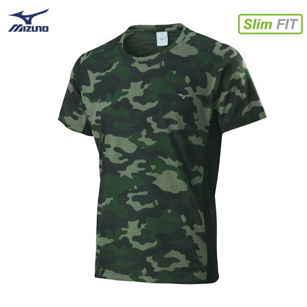 32TA800838(綠迷彩)合身版型SlimFIT男短袖T恤【美津濃MIZUNO】