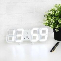 LED數字鐘 數字鐘 時尚掛墻鐘 大8字立體座鐘 夜光LED 電子時鐘 鬧鐘 節能鐘 白色【N600009】