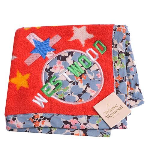 Vivienne Westwood 繽紛星球圖騰刺繡碎花邊小方巾(紅底)