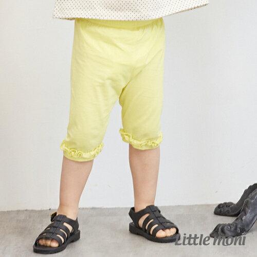 Littlemoni荷葉花邊五分合身褲-黃色