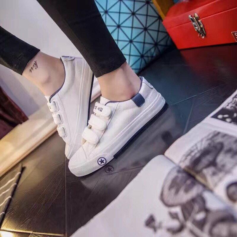 格子舖*【AA3823】基本款百搭時尚簡約 魔鬼氈穿拖 布面鞋帆布鞋 3色 5