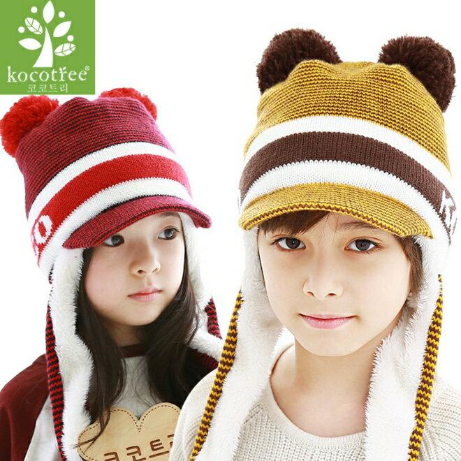 Kocotree◆ LOGO字母細條紋雙毛球兒童內毛絨長款護耳帽