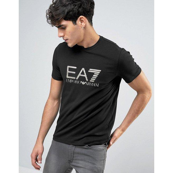 美國百分百【全新真品】Emporio Armani EA7 短袖 T恤 logo T-shirt 黑色 S號 H831