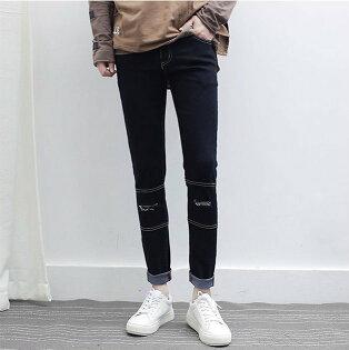 FINDSENSE品牌 新款 男生 時尚 休閑百搭 修身小腳九分褲 破洞牛仔褲 黑色