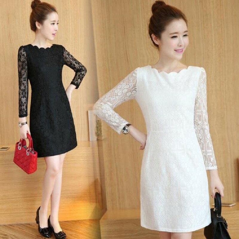 時尚花邊蕾絲顯瘦連身洋裝(5色)