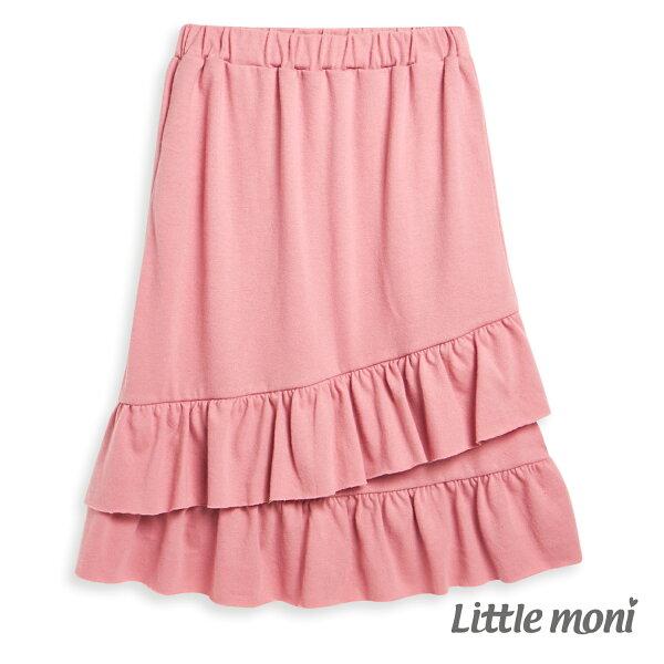 Littlemoni荷葉魚尾裙-熱情粉