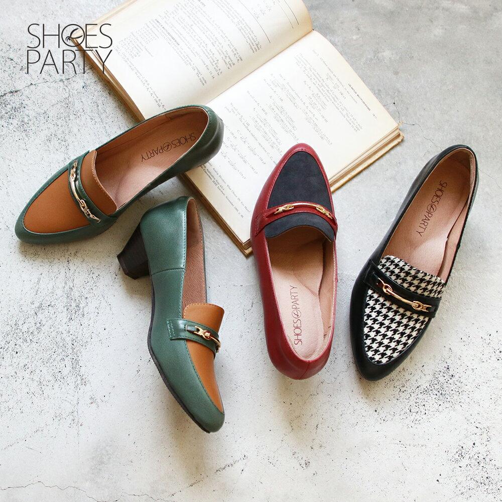 【P2-19131L】飾扣真皮樂福跟鞋_Shoes Party 0