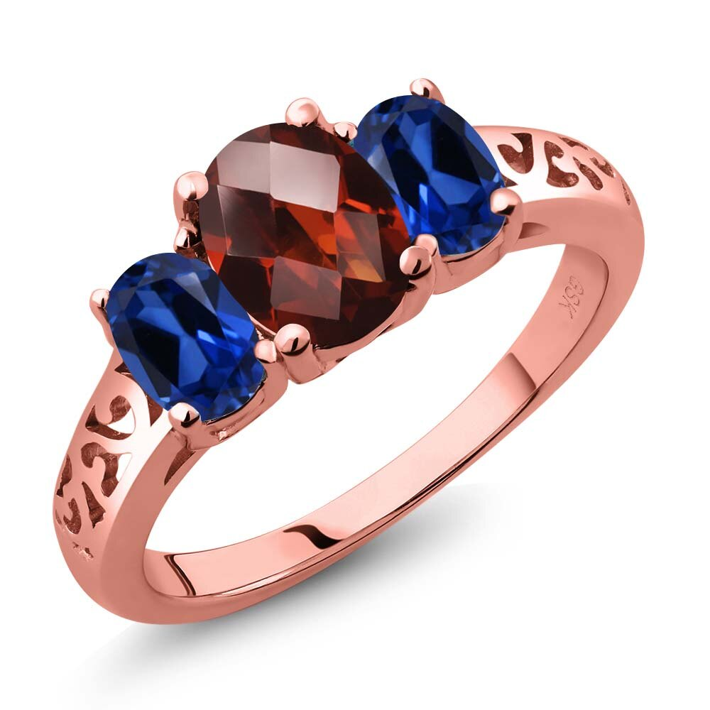 2.40 Ct Oval Checkerboard Red Garnet Blue Simulated Sapphire 18K Rose Gold Plated Silver 3-Stone Ring 0