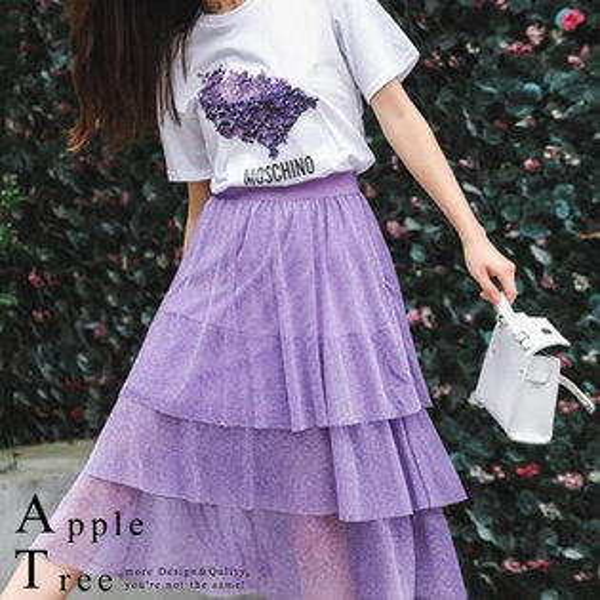AT日韓-紫色蛋糕層紗裙套裝,兩件成套【806023】