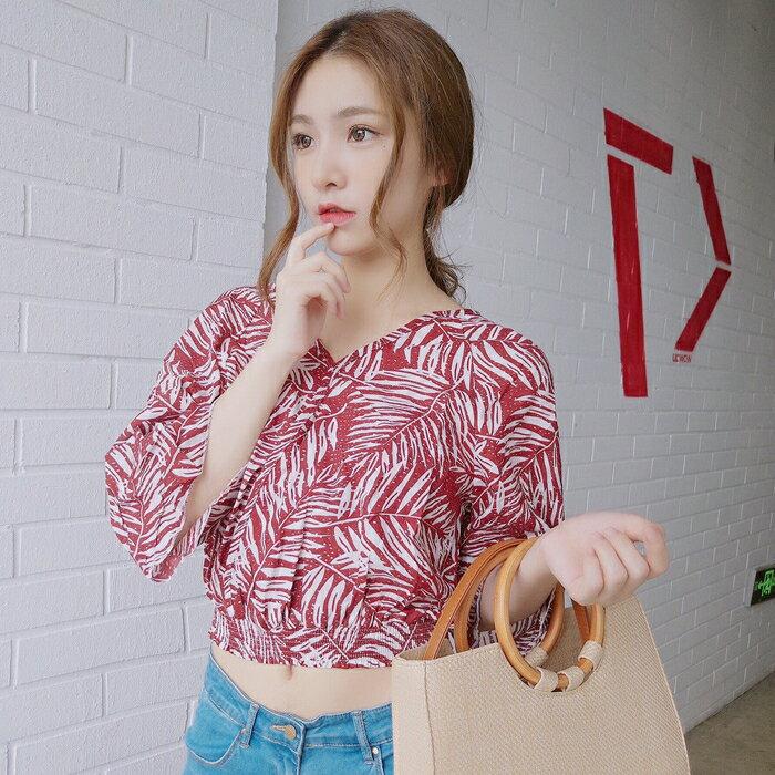 [超豐國際]短袖T恤女夏季樹葉花V領短款橡筋收腰雪紡衫半袖露1入