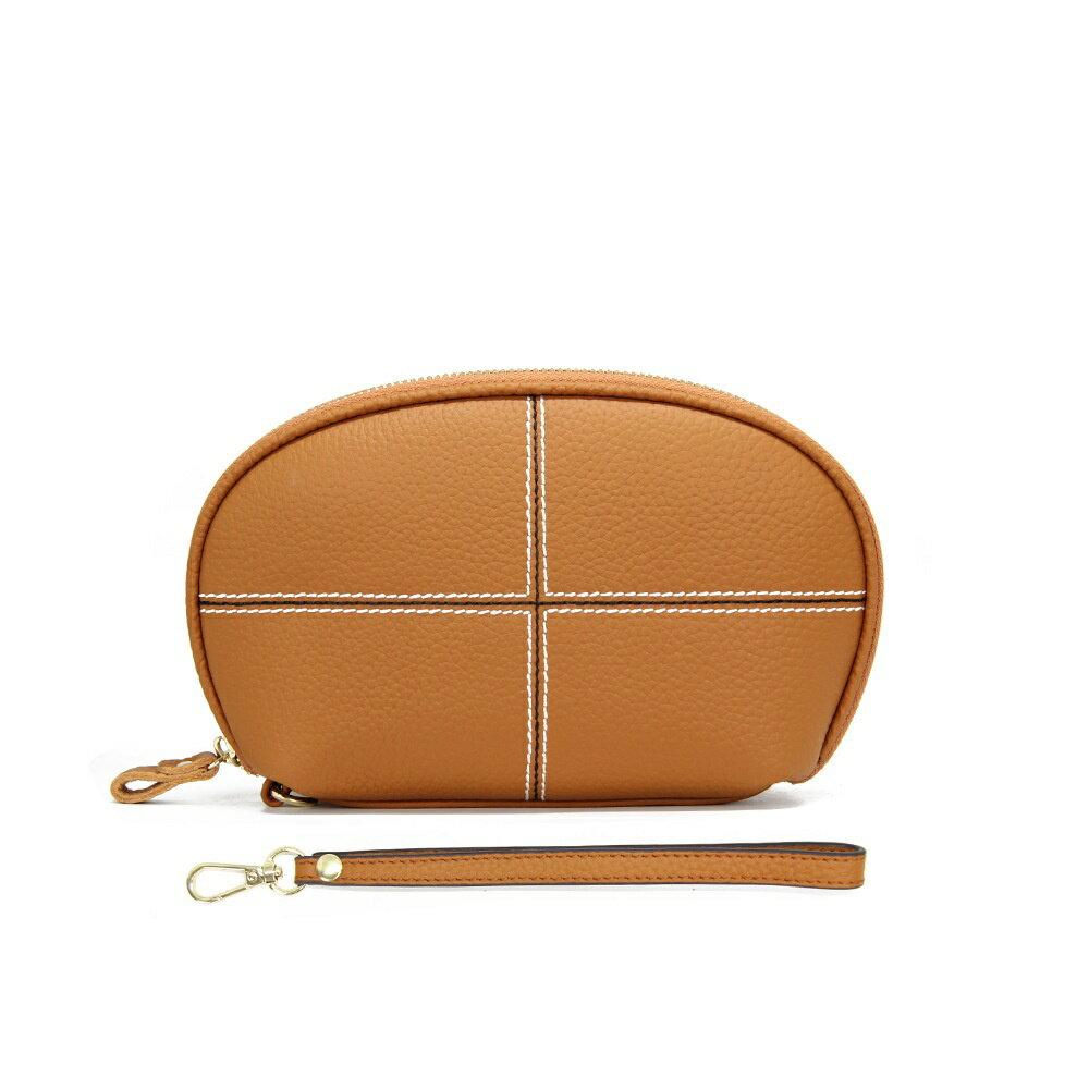 手拿包真皮錢包-純色牛皮十字縫線女包包5色73wz40【獨家進口】【米蘭精品】 1