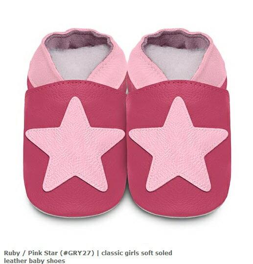 【HELLA 媽咪寶貝】英國 shooshoos 安全無毒真皮手工鞋/學步鞋/嬰兒鞋_桃紅大星星(公司貨)