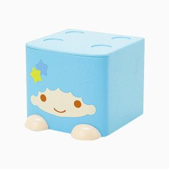 【真愛日本】 4901610090664 造型積木收納盒-TS藍+AAP 三麗鷗 kikilala雙子星 置物箱 預