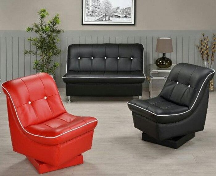 ~尚品傢俱~WY~51 套房出租最愛 黑紅兩色2人座皮沙發   1人座   家庭沙發  客
