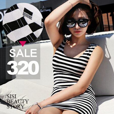 SISI【D6134】性感修身顯瘦無袖背心黑白條紋包臀連身裙洋裝