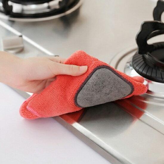 ♚MY COLOR♚可掛式百潔洗碗布 超細 纖維 抹布 清潔 輕洗 廚房 衛生 加厚 隔熱 防燙【J33-7】