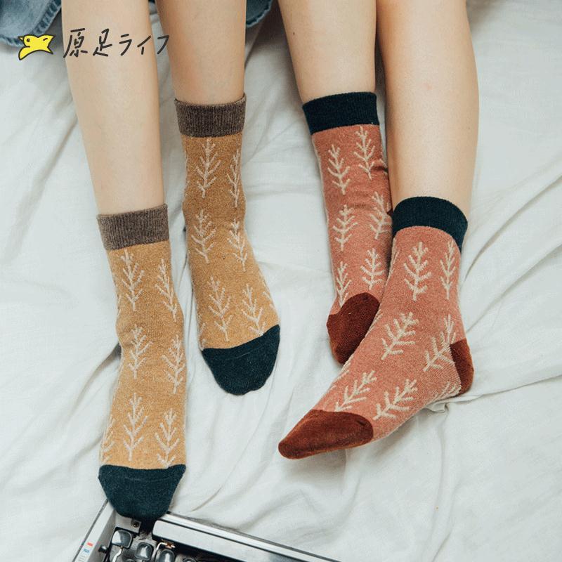 中筒襪 5雙羊毛襪子女中筒襪秋冬季刷毛加厚保暖日系正韓學院風百搭長襪『CM397439』