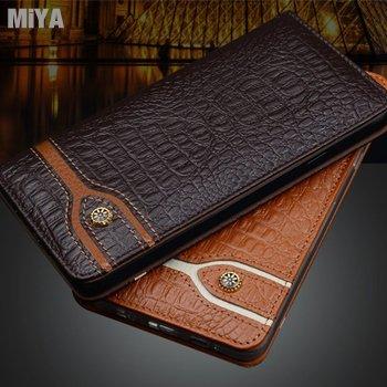 小米 Mix 真皮牛皮鱷魚紋手機保護軟殼皮套 黑咖啡棕色