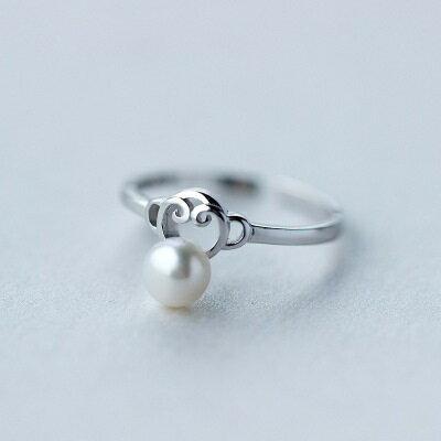 ~925純銀戒指珍珠開口戒~甜美風格猴子 生日情人節 女飾品73dt513~ ~~米蘭 ~