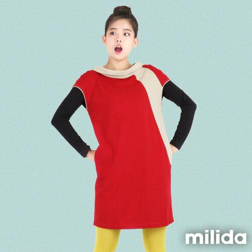 【Milida,全店七折免運】-秋冬單品-洋裝款-立領短袖設計