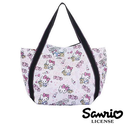 4034【日本正版】Hello Kitty X Dearisimo 帆布肩揹包 托特包 帆布包 手提袋 旅行袋 凱蒂貓 - 123343