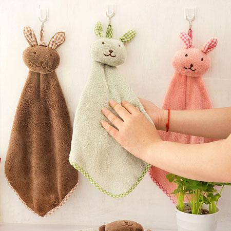 兔子造型掛式擦手巾 毛巾 珊瑚絨擦手巾 洗手必備 浴室 廚房清潔 居家【B061155】