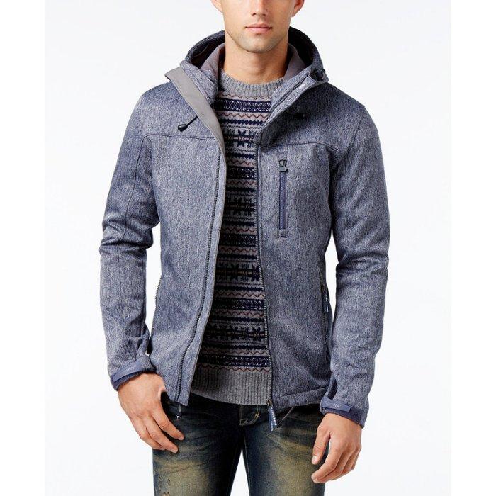 美國百分百【全新真品】Superdry 極度乾燥 風衣 連帽 軟殼 外套 防風 夾克 刷毛 藍灰色 XXL號 H642